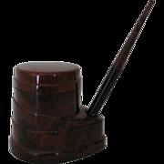 Vintage Morriset Pen-Ink Unit, Model B, brown marbled celluloid inkwell