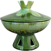 Vintage Haeger Green Drip Glaze Pottery Candy Dish with Lid