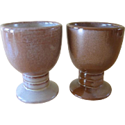 Vintage Frankoma Brown Satin Pottery Tumblers