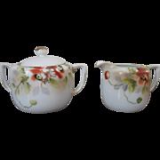 Vintage Nippon Handpainted Porcelain Creamer and Covered Sugar Bowl