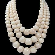 Huge 14k gold 3 strand genuine Angel Skin Coral bead necklace 202 grams