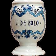 A 17th century Delft faience apothecary jar, mark for Adriaen Koeks circa 1690.