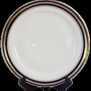 An Imperial Russian cobalt and gilt decorated serving platter, Kuznetsov porcelain factory, ..