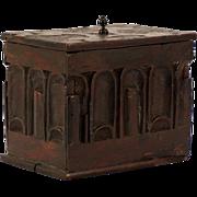 A Pilgrim Century chestnut trinket box, probably New England, circa 1680.