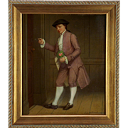 An 18th century Dutch oil painting of a suitor, Leiden School, circa 1790