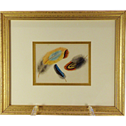 Four framed mid -19th century botanical watercolors, one monogramed HMK, probably American, ..