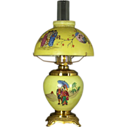 American Aesthetic novelty 'Mikado' oil table lamp in original condition, probably Bradley