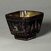 Superb Chinese black lacquer and mother of pearl inlaid cup, Kangxi (1661-1722), probably ...