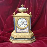 Spectacular Original French Gilded Bronze  Porcelain Clock circa 1880