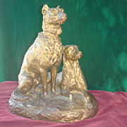 original period french patinated bronze dogs signed Lenard c.1880