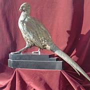 superb large patinated bronze statue pheasant signed Moigniez. c.1900