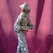 original period French patinated bronze musician signed Bouret c.1880