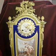 Exceptional antique French gilded bronze porcelain mounts mantel clock, signed. c.1880