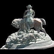 "Impressive large patinated bronze statue"" THE HUNT SCENE"" by P. J.   Mene   1867"
