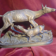 Original period antique French patinated bronze statue deer and child signed J.MIOGNIEZ c. 1880