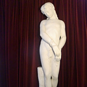 Antique life size hand carved Italian marble statue young boy c. 1880