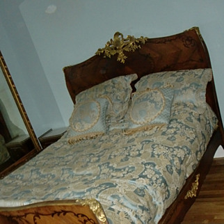 Antique French LXV style marquetry gilded bronze mounts bed signed KRIEGER c.1880