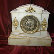 SOLD Turn of the century onyx and gilded figural bronze mounts mantel clock