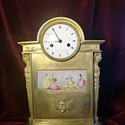 Antique French empire clock, Gilded figural bronze porcelain plaque c.1820