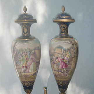 Pair of antique palace size sevres urns, French, c.1880 rare