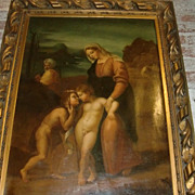 19th C. European Oil Painting on Canvas depicting the Virgin Mary with a young Jesus ...