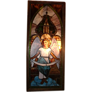 Large Antique Stain Glass window, portrait  angel,  19th century