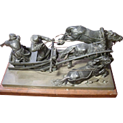 Museum Original Antique Russian patinated bronze statue figurine warriers on chariot, three ..