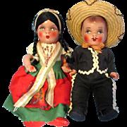 SALE Mexican Souvenir Composition Dolls - Boy and Girl -1950's