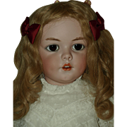 Beautiful Simon and Halbig Character Doll with the Sweetest of Dimples, Original Antique Wig .