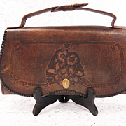 REDUCED Vintage 1926 Art Deco Leather Tooled Purse - Clutch