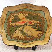 REDUCED Vintage Paper Mache Tray - Idyllic Scene -  Makers Mark & Patent Number