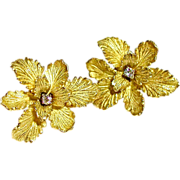 SALE 18kt Flower Earrings with Diamond Center