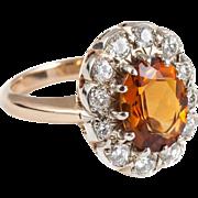Citrine Diamond Halo Ring