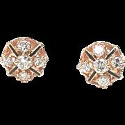 Art Deco Style in Diamond, Enamel  Ear Studs