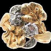 Art Nouveau Floral Delight in a Diamond Ring