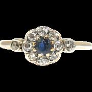Art Deco Gold Platinum Diamond Sapphire Flower Cluster Ring