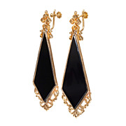 Classic Victorian Onyx and Gold Earrings