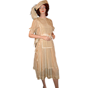 REDUCED Period Art Deco Silk Formal Ensemble c1925 ~Tabard Dress, Hat, Shoes