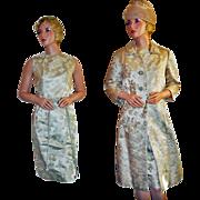 Vintage Bonwit Teller Silk Brocade Formal Suit c1955 Hong Kong
