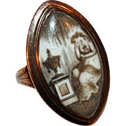 Navette Ring Signed, Dated 1791, Hand Painted Sepia Mourning Scene