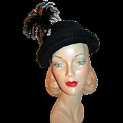 REDUCED Vintage Designer Evelyn Varon Hat w/ Plume and Pastes c1938