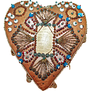 WWI Era Sweetheart Beaded Pin Cushion / Love Token