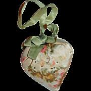 Shaker Heart Pin Cushion of Watered Silk c1880