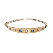 Antique: Victorian Sapphire & Diamond Gold Bangle