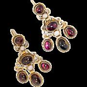 Antique: Garnet Earrings, Austro-Hungarian, Gold Washed Chandelier Earrings (19th Century)