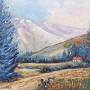 SALE 1949 Faye Teper Mountain Cabin Landscape Oil Painting Framed