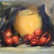 SALE SW Brooks Signed Original Still Life Oil Painting Art Wine Food Vase