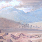 SALE Harold Woodford Pond (1897-1988) Mixed Media Mountain Scene Painting Framed