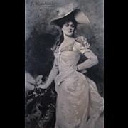 SALE Antique 1893 Garden Party Lady Portrait Photogravure Print Jules Louis Machard