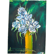 SALE Vintage Original Signed Asian Art Oil Painting Still Life Floral Vase